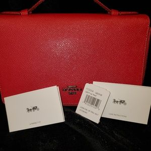 NWT RED COACH TRAVEL DOUBLE ZIP WALLET